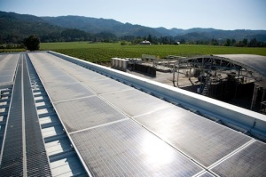 Photovoltaic panels on the roof of Hall Winery.